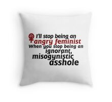 Angry Feminist Throw Pillow