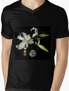 Fresh Lilies and Old Brass Mens V-Neck T-Shirt