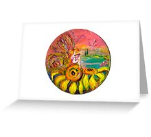 FAIRY OF THE SUNFLOWERS PLAYING LYRA Greeting Card