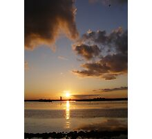 golden clouds at burgh castle Photographic Print