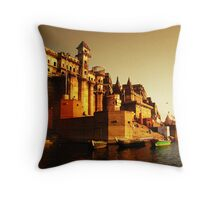 Ganges Ghat Throw Pillow