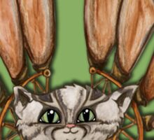 Steampunk Grey Tabby Cat Fairy art Sticker