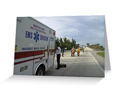 Ambulance and helicopter Greeting Card