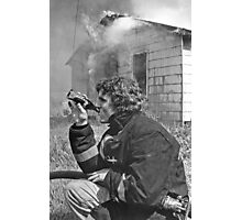 Firefighter takes a break Photographic Print