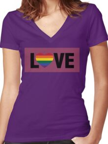 Pride Love Women's Fitted V-Neck T-Shirt