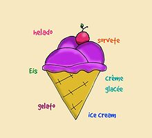 Yummy icecream with cherry and text by JoAnnFineArt