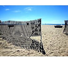 Symmetrical Fence Silhouette at the Beach Photographic Print