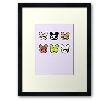 bunny faces - kawaii! Framed Print