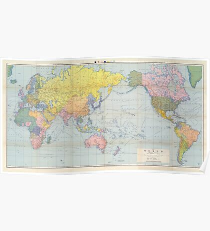 World Map Vintage 1944 Poster
