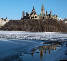 Canada Parliament Buildings Ottawa River by M Sylvia Chaume