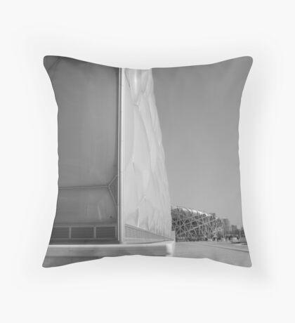 Water Cube & The Birds Nest Throw Pillow