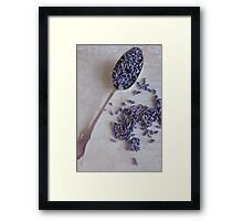 Silver spoon and Lavender seeds Framed Print
