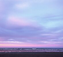 Sunset sky over Sumner beach by Louise Marlborough