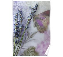 Lavender on butterfly tablecloth Poster