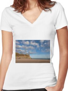 The Great Tor on the Gower peninsular Women's Fitted V-Neck T-Shirt