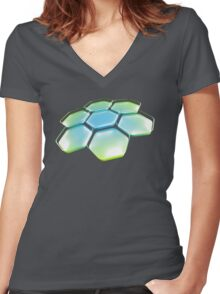 Flower - Blue/Green Women's Fitted V-Neck T-Shirt