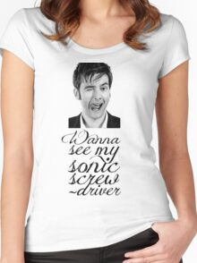 Wanna see my sonic screwdriver? Women's Fitted Scoop T-Shirt