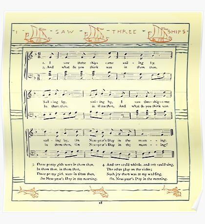 The Baby's Opera - A Book of Old Rhymes With New Dresses - by Walter Crane - 1900-22 I Saw Three Ships Poster