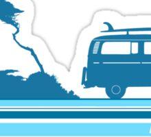 'Longboard' Surf Retro Design in Teal & Aqua Sticker
