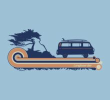 'Longboard' Surf Retro Design in Navy & Orange by Bootee