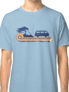 'Longboard' Surf Retro Design in Navy & Orange Classic T-Shirt