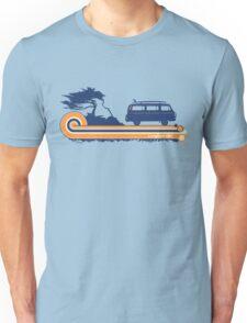 'Longboard' Surf Retro Design in Navy & Orange Unisex T-Shirt