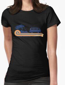 'Longboard' Surf Retro Design in Navy & Orange Womens Fitted T-Shirt