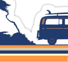 'Longboard' Surf Retro Design in Navy & Orange Sticker