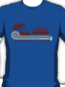 'Longboard' Surf Retro Design in Maroon & Aqua T-Shirt