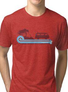 'Longboard' Surf Retro Design in Maroon & Aqua Tri-blend T-Shirt