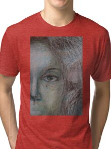 Faces - Right - Portrait In Black And White Tri-blend T-Shirt