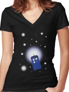 TARDIS In Space Women's Fitted V-Neck T-Shirt