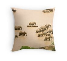 Elephants at a waterhole Throw Pillow