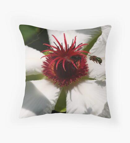Honey Bee in Green Throw Pillow