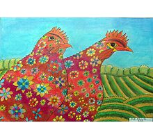 395 - FLORAL HENS - DAVE EDWARDS - COLOURED PENCILS - 2013 Photographic Print