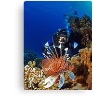 Diver and Lionfish Canvas Print