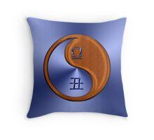 Libra & Ox Yin Wood Throw Pillow