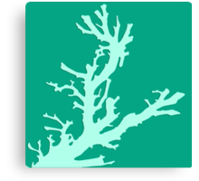 Coral branch - turquoise and aqua Canvas Print