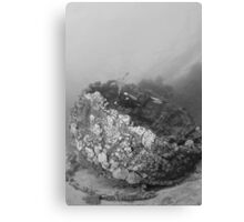 Diver at a wreck in red sea Canvas Print