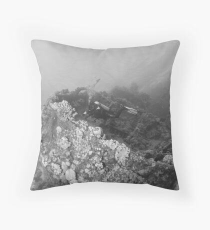 Diver at a wreck in red sea Throw Pillow