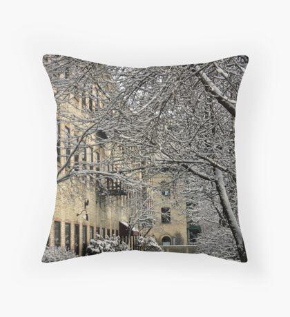 Snowy Cityscape Throw Pillow
