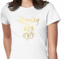Blogging With Style - Faux Gold Foil Womens Fitted T-Shirt