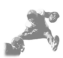 Hurdling Football Player Collection Photographic Print