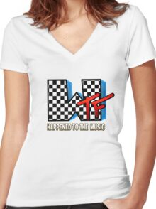 WTF Happened To Music Women's Fitted V-Neck T-Shirt