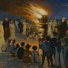Midsummer Eve Bonfire on Skagen Beach  by David Dehner
