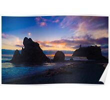 Ruby Beach Sunset Poster