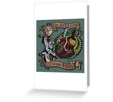 The Mind is the Key to the Heart (dark teal) Greeting Card