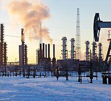 Pump jack and grangemouth refinery. by bashta