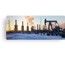 Pump jack and grangemouth refinery. Canvas Print
