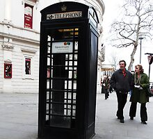 Tourists Startled By BLACK 'Phone Box by farmbrough